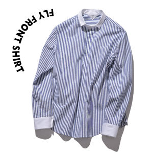 Fly front shirts [ Stripe × White ]
