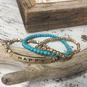 HAPPY Message with Semi and Metal Beads Bracelet (PB0762)
