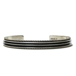 Navajo Vintage Sterling Silver Two Line Bangle by Ron Yazzie