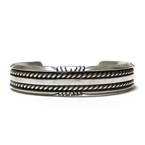 Navajo Vintage Sterling Silver Twisted Wire Bangle by Robert Becenti