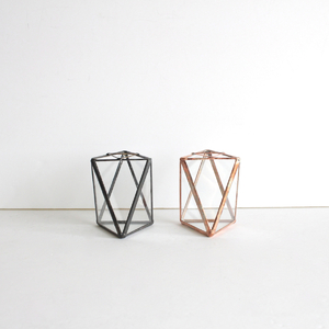 GEOMETRIC VASE Small / black,copper