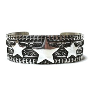Navajo Sterling Silver Stamp & Five Star Bangle by Sunshine Reeves
