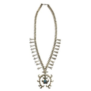 ''50% off セール'' Navajo Vintage Sterling Silver & Royston Turquoise Squash Blossom Naja Necklace