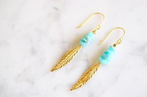 Natural stone feather pierce*turquoise