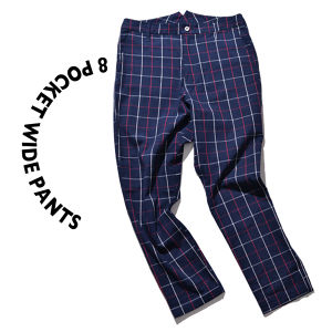 8 pocket Wide Pants [ Navy check ]