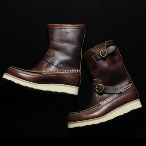 U.S. OIL LEATHER HAND MOCCASIN BOOTS DARK BROWN