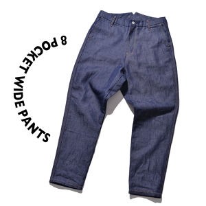 8 pocket Wide Pants [ Navy ]