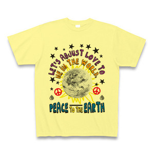 ASH DROP PEACE TO THE EARTH Tシャツ(ライトイエロー)