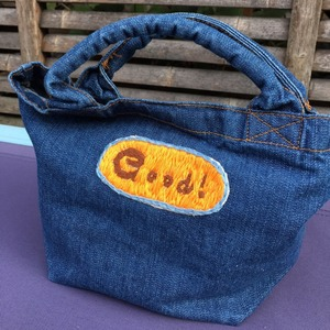 "Mahalo11 Original☆ Denim tote bag ""Good!"""