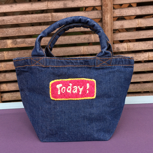 "Mahalo11 Original☆ Denim tote bag ""Today!"""