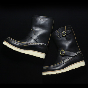 U.S. OIL LEATHER HAND MOCCASIN BOOTS BLACK