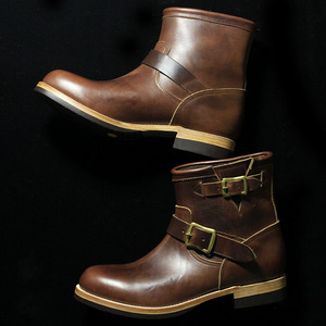 U.S.OIL LEATHER SHORT ENGINEER BOOTS brown