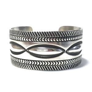 Navajo Vintage Sterling Silver Repousse Bangle by Aaron Toadlena