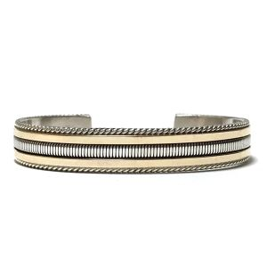 Navajo Sterling Silver & 12k Gold Twisted Wire Bangle by Tahe