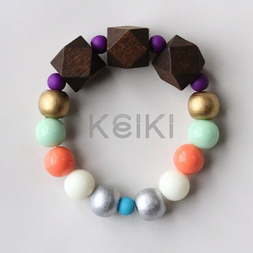 Children's Bracelet - New Hexagon Brown Sea Foam White Peach キッズブレスレット keiktheshop
