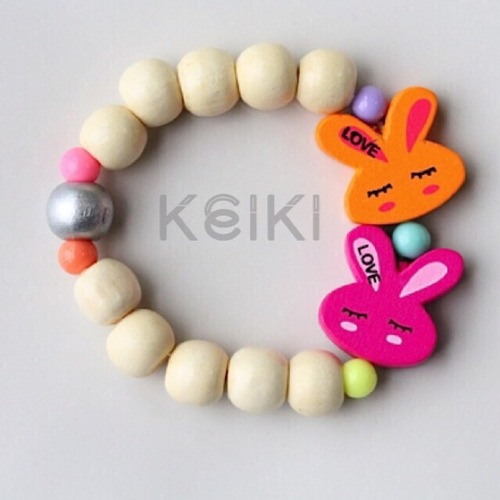 Children's Bracelet - Bunny Cream Orange Pink キッズブレスレット keikitheshop