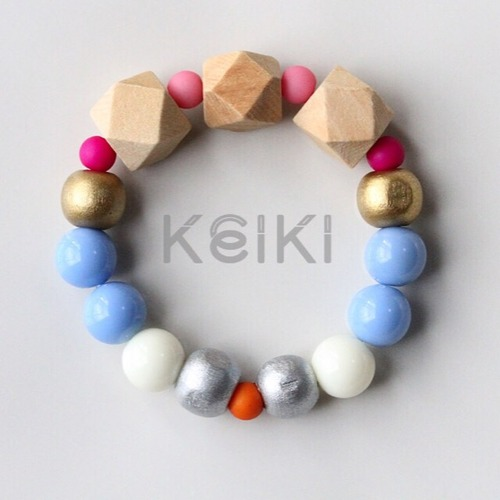 Children's Bracelet - New Hexagon Natural Blue White キッズブレスレット keiktheshop