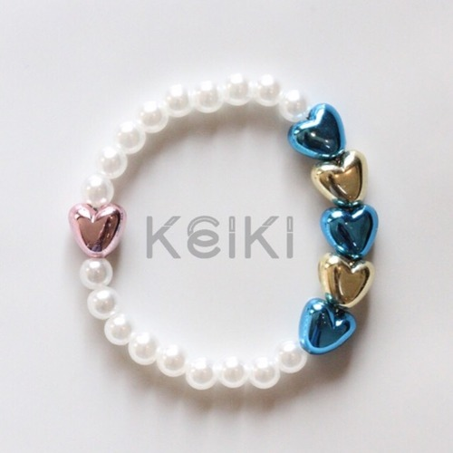 Children's Bracelet - Mini Pearl Hearts Blue Yellow キッズブレスレット keiktheshop