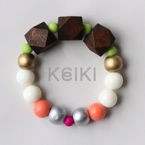Children's Bracelet - New Hexagon Brown White Peach キッズブレスレット keiktheshop