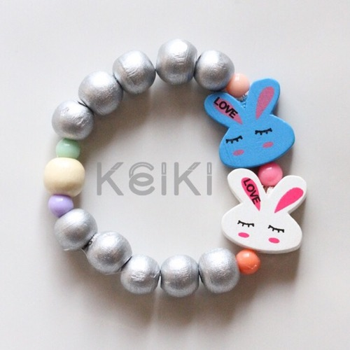 Children's Bracelet - Bunny Silver Blue White キッズブレスレット keikitheshop