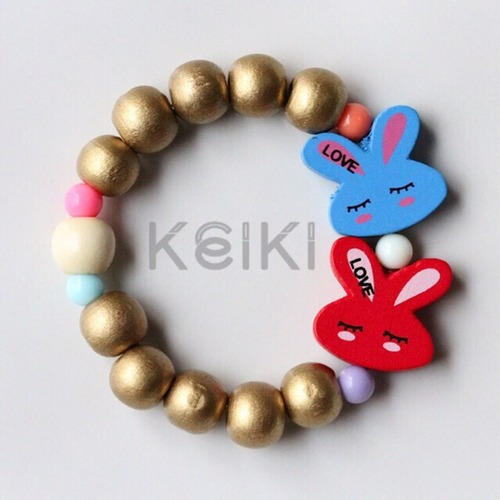 Children's Bracelet - Bunny Gold Blue Red キッズブレスレット keikitheshop