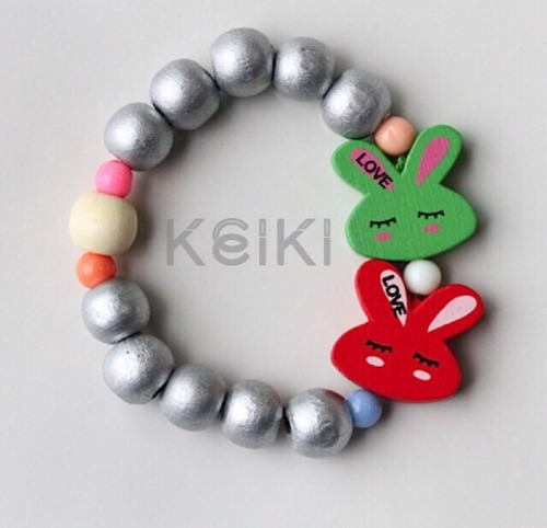 Children's Bracelet - Bunny Silver Green Red キッズブレスレット keikitheshop
