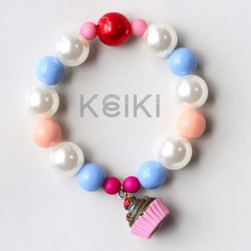 Children's Bracelet - Sweets Charm Brown Cup Cake キッズブレスレット keikitheshop