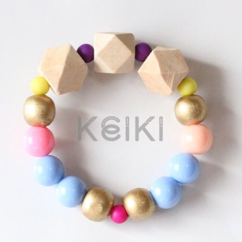Children's Bracelet - New Hexagon Natural Blue Pink キッズブレスレット keiktheshop