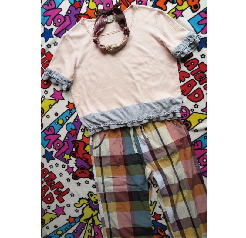 編み込みジャガード古着リメイクTシャツをUPしました♪