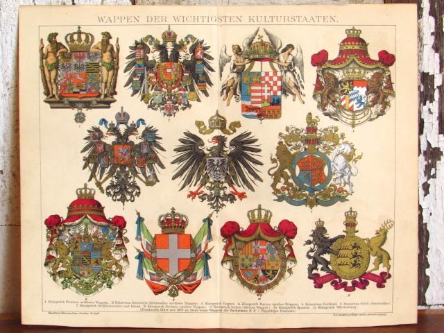 ドイツ アンティーク・重要文化列国ワッペンのリトグラフ