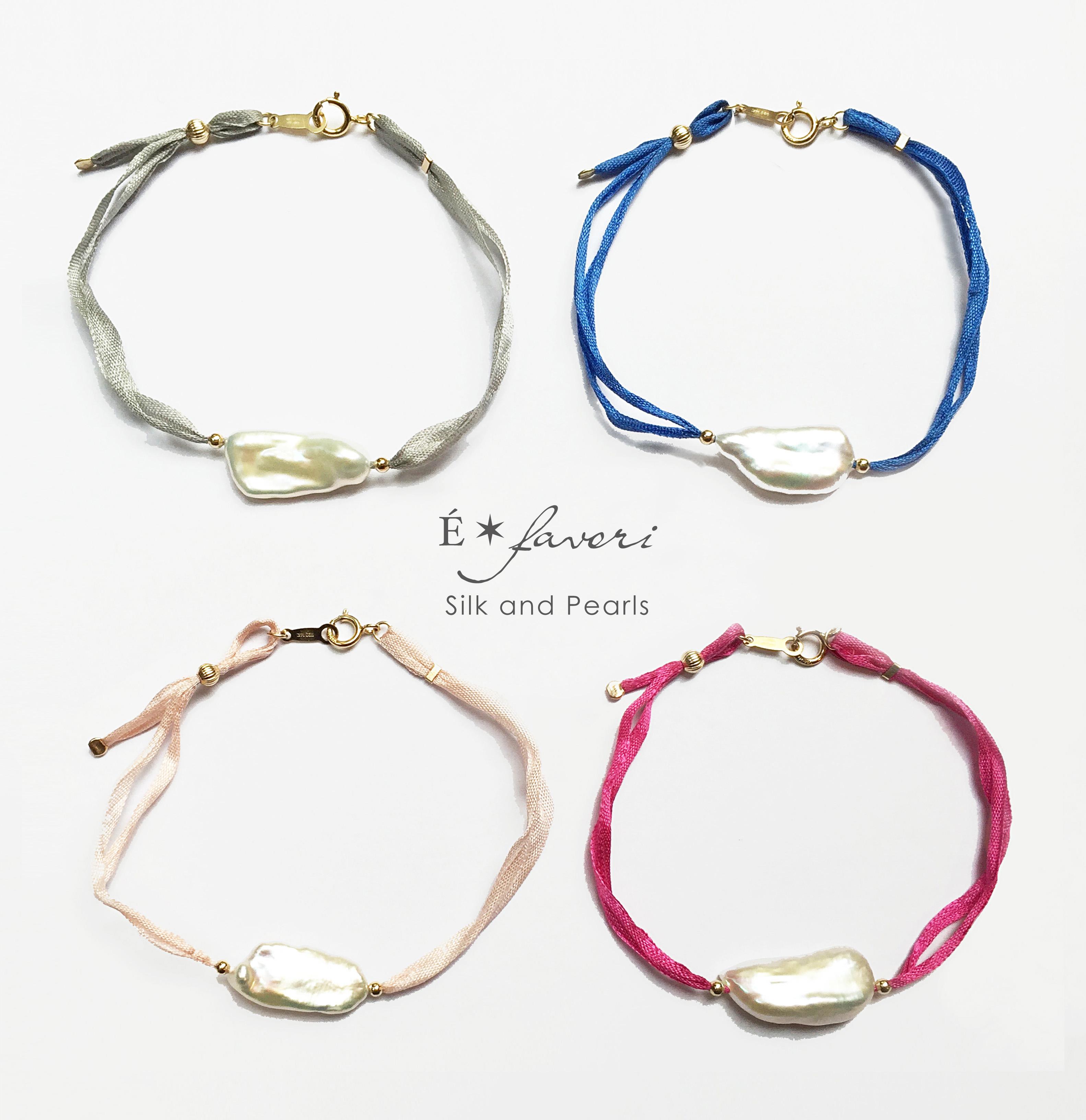 Silk Ribbon x Long Pearl Bracelet