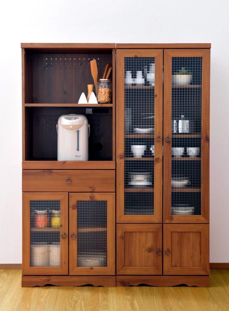 【送料無料】アンティーク食器棚(高さ150cm幅58cm)木目調カップボード、インテリア