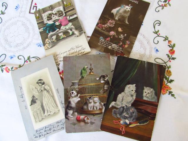 ヨーロッパのアンティークポストカード(猫ちゃん♪)