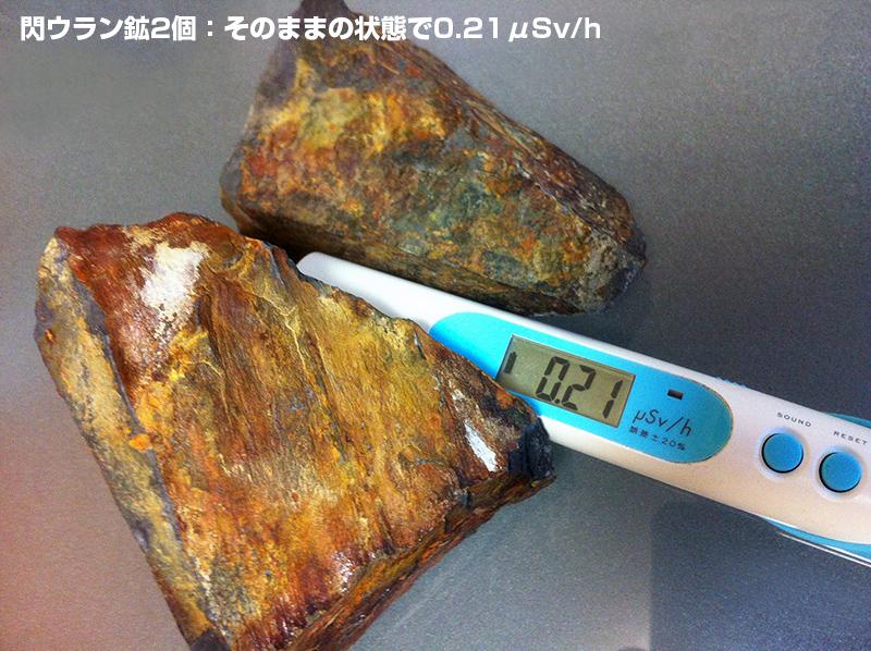 本物の閃ウラン鉱vs太陽のカード(放射線量減少測定)