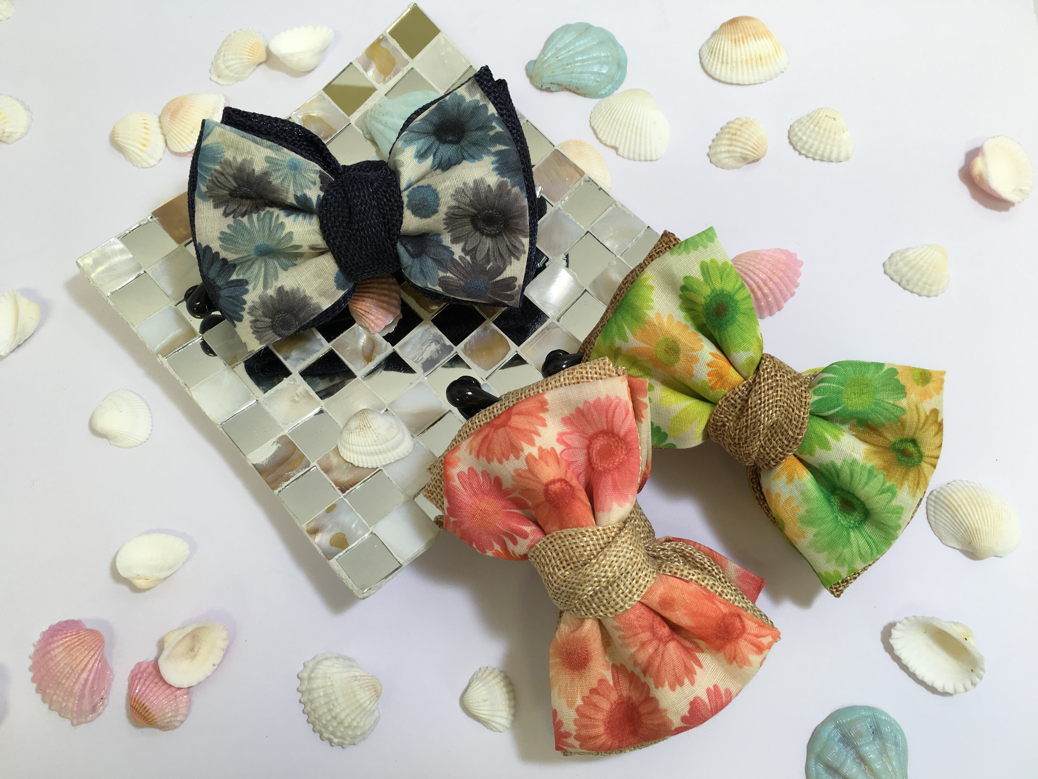 夏らしい花柄と麻のコンビが爽やかなバナナクリップ!いつものアップスタイルが簡単おしゃれに!