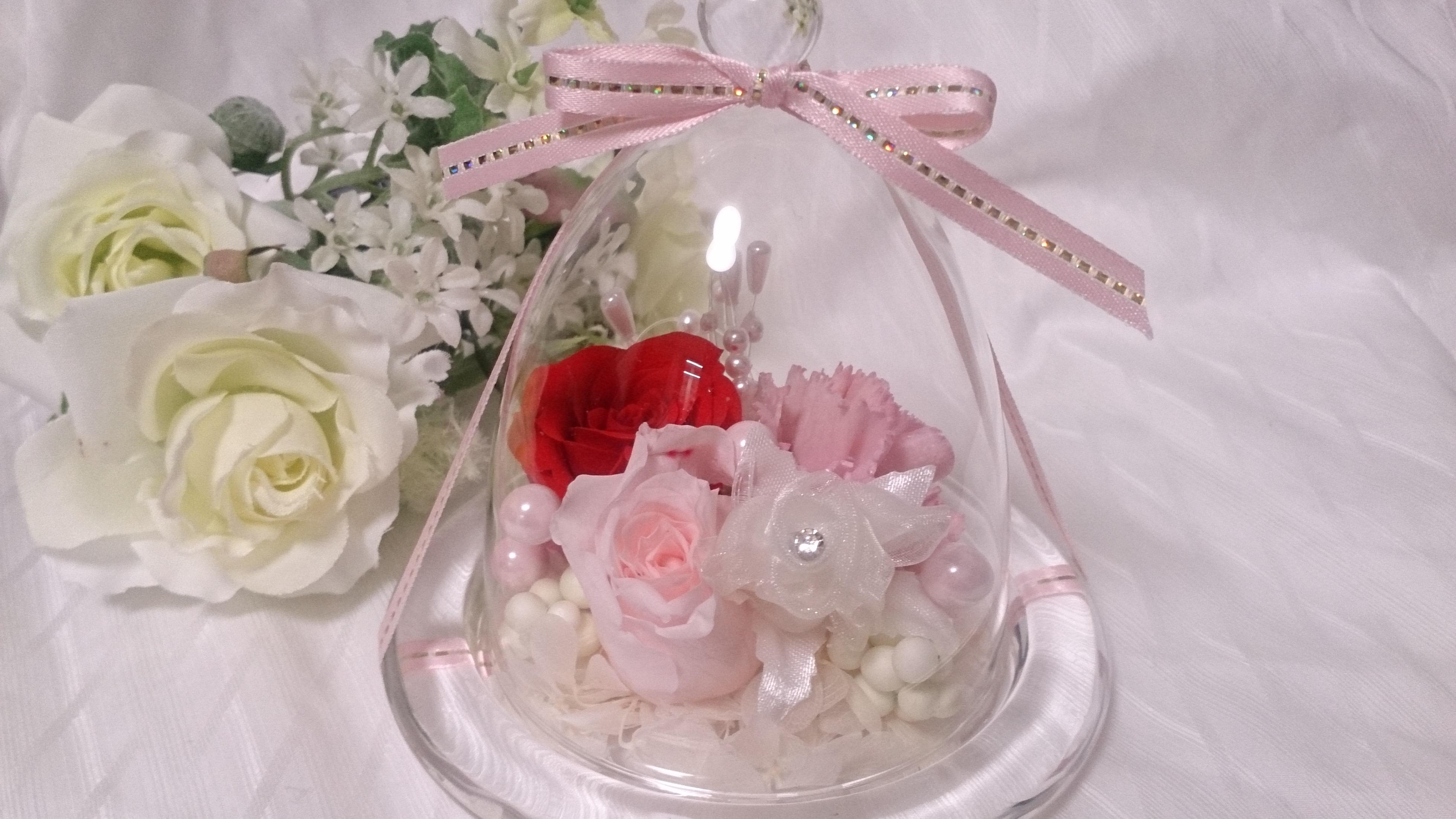 【贈り物に】プリザーブドフラワークリスタルローズドーム♪【母の日】
