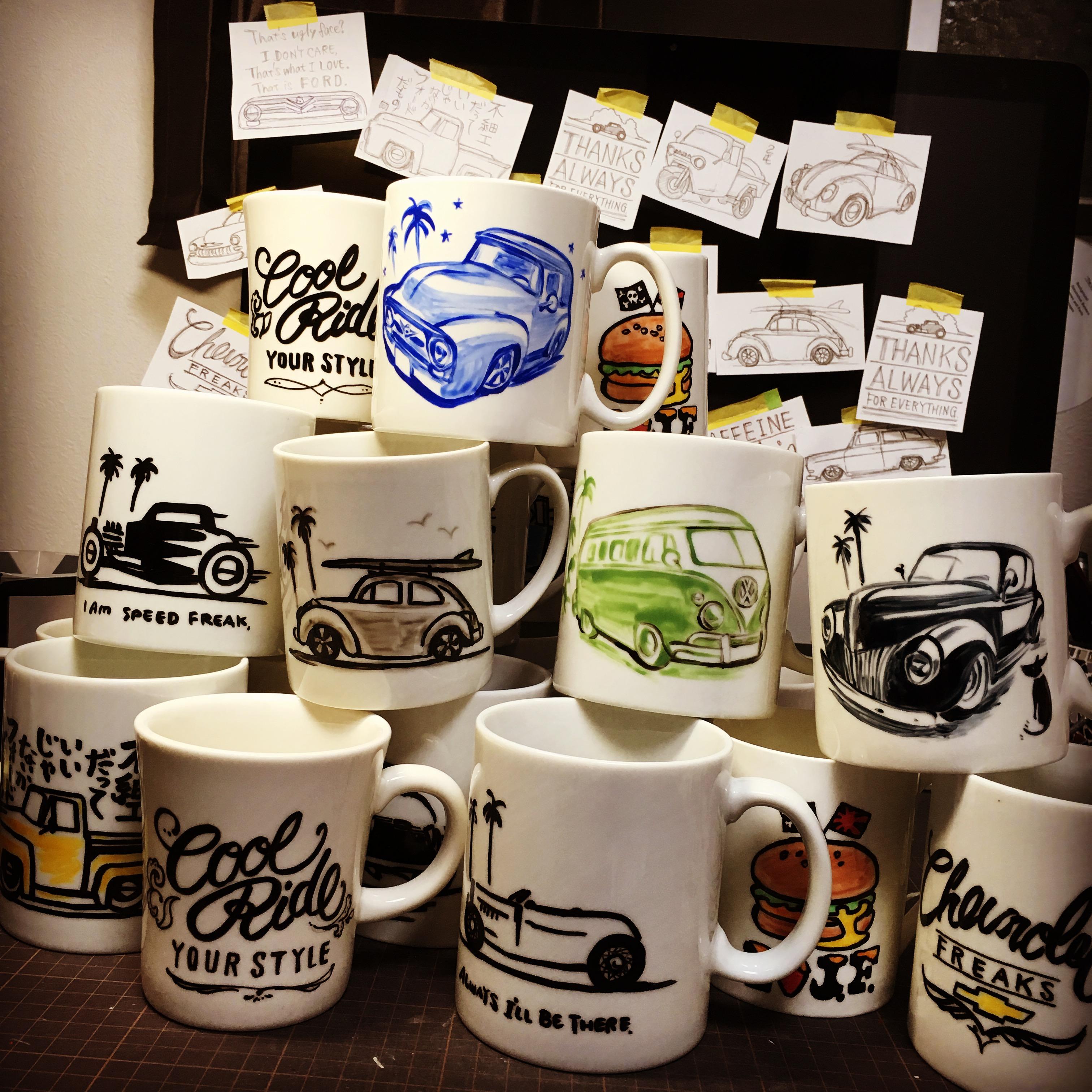 車好きな彼氏、彼女、お父さん、お母さん、お友だちに。世界にひとつのマグカップ。