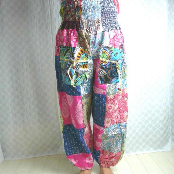 パッチワーク柄、インド綿パンツ